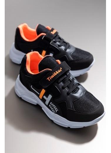Tonny Black Siyah Turuncu Çocuk Spor Ayakkabı Tbz13 Siyah